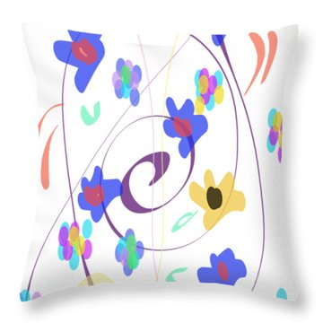 Throw Pillow featuring the digital art Abstract Garden Nr 7 Naif Style by Bee-Bee Deigner