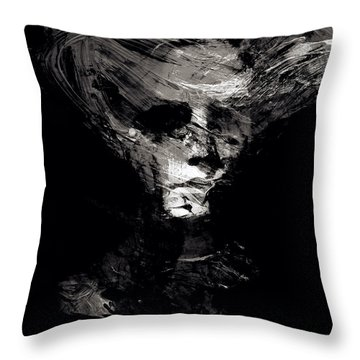 Abstract Ghost Black And White Throw Pillow