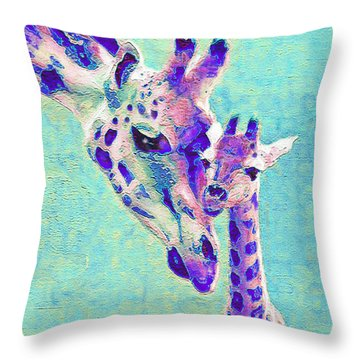 Abstract Giraffes Throw Pillow by Jane Schnetlage