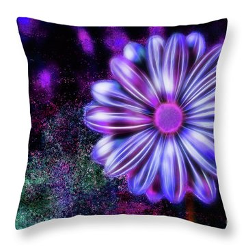 Abstract Glowing Purple And Blue Flower Throw Pillow