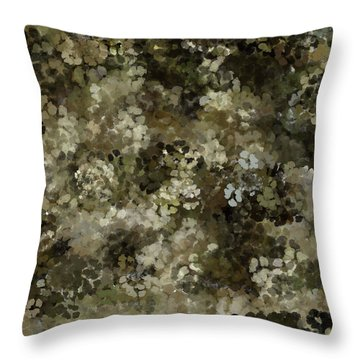 Throw Pillow featuring the mixed media Abstract Gold Black White 5 by Clare Bambers