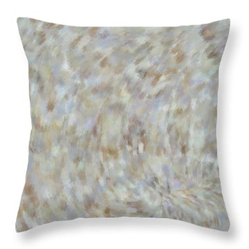 Throw Pillow featuring the mixed media Abstract Gold Cream Beige 6 by Clare Bambers