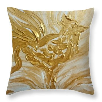 Abstract Golden Rooster Throw Pillow