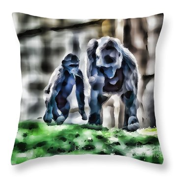 Abstract Gorilla Family Throw Pillow
