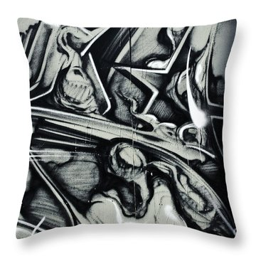 Abstract Graffiti Detail On The Textured Fence Throw Pillow