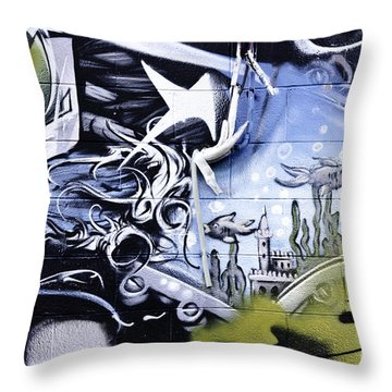 Abstract Graffiti Detail Throw Pillow