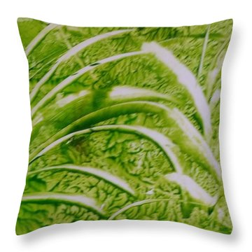 Abstract Green And White Leaves And Grass Throw Pillow