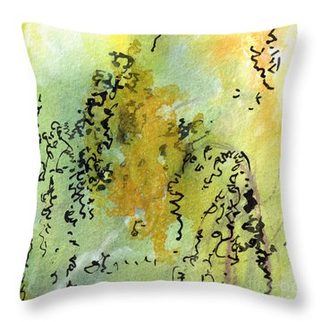 Throw Pillow featuring the painting Abstract Green And Yellow  by Ginette Callaway