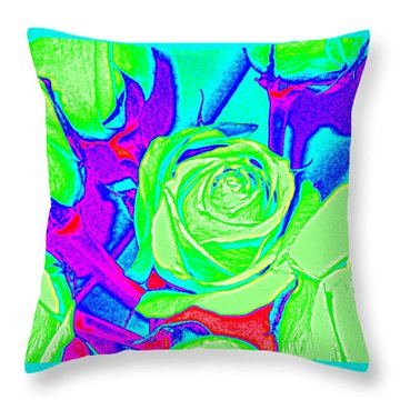 Abstract Green Roses Throw Pillow