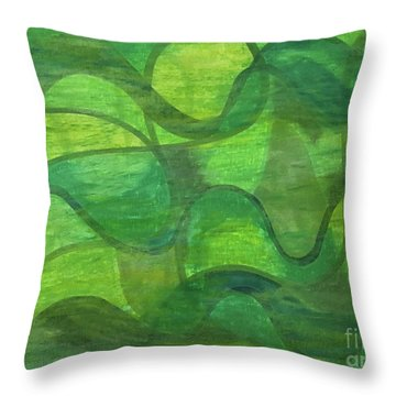 Abstract Green Wave Connection Throw Pillow