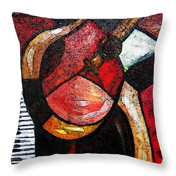 Abstract Guitar Throw Pillow by Pristine Cartera Turkus