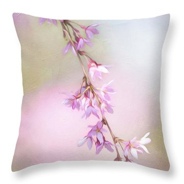 Abstract Higan Chery Blossom Branch Throw Pillow