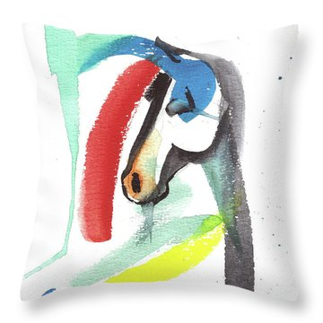 Throw Pillow featuring the painting Abstract Horse by Go Van Kampen