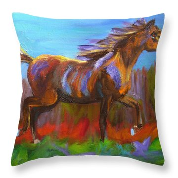 Abstract Horse Painting Throw Pillow by Mary Jo Zorad