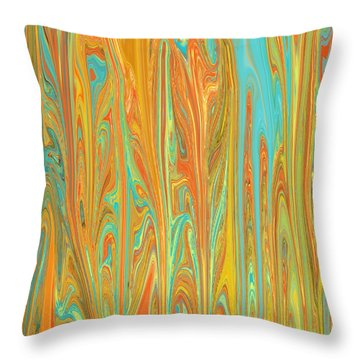 Abstract In Copper, Orange, Blue, And Gold Throw Pillow by Jessica Wright