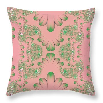 Throw Pillow featuring the digital art Abstract In Pink And Green by Linda Phelps