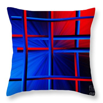 Abstract In Red/blue 3 Throw Pillow