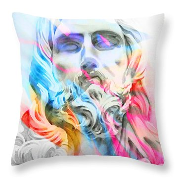 Throw Pillow featuring the painting Abstract Jesus 5 by J- J- Espinoza