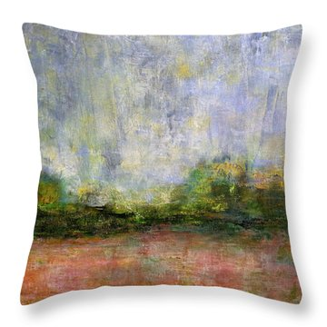 Abstract Landscape #310 - Spring Rain Throw Pillow