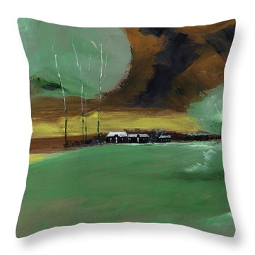 Throw Pillow featuring the painting Abstract Landscape by Anil Nene