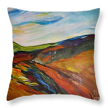 Throw Pillow featuring the painting abstract landscape-Haloze by Dragica  Micki Fortuna