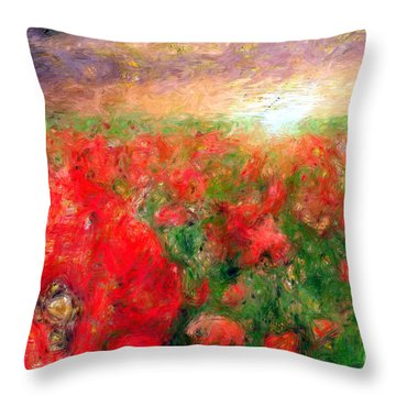 Abstract Landscape Of Red Poppies Throw Pillow