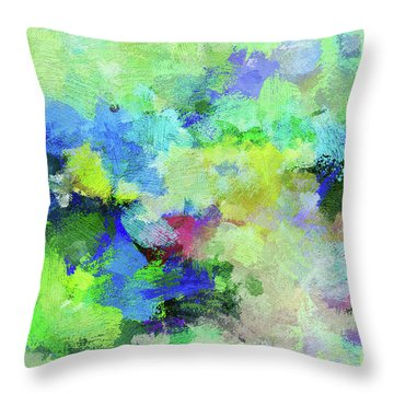 Throw Pillow featuring the painting Abstract Landscape Painting by Ayse Deniz