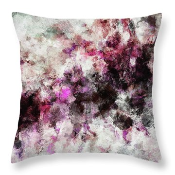 Throw Pillow featuring the painting Abstract Landscape Painting In Purple And Pink Tones by Ayse Deniz