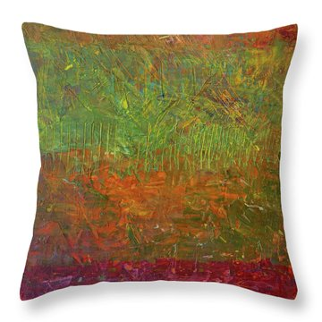 Abstract Landscape Series - Fallen Leaves Throw Pillow