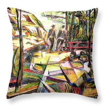Abstract Landscape With People Throw Pillow by Stan Esson