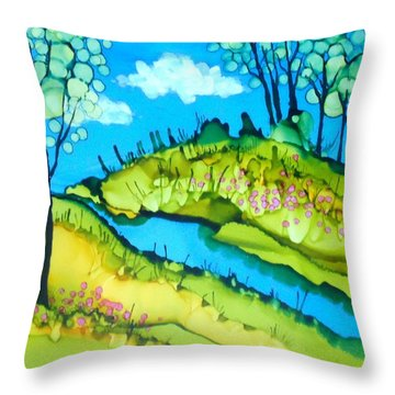 Abstract Landscape With Stream Throw Pillow