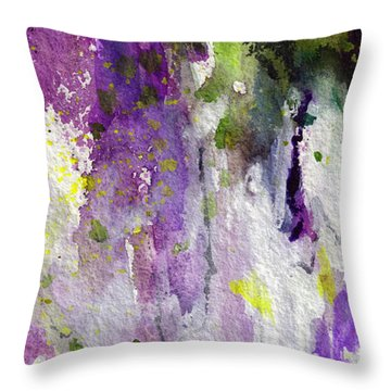 Throw Pillow featuring the painting Abstract Lavender Cascades by Ginette Callaway