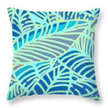 Abstract Leaves Blue And Aqua Throw Pillow