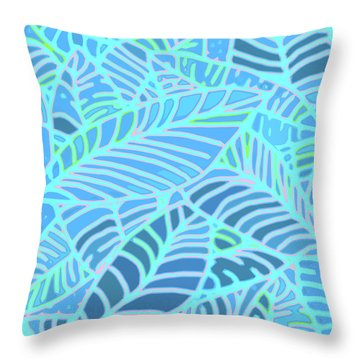 Abstract Leaves Blue And Turquoise Throw Pillow