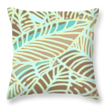 Abstract Leaves Coffee And Aqua Throw Pillow