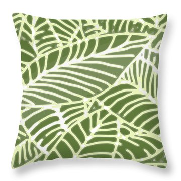Abstract Leaves Fern Green Throw Pillow