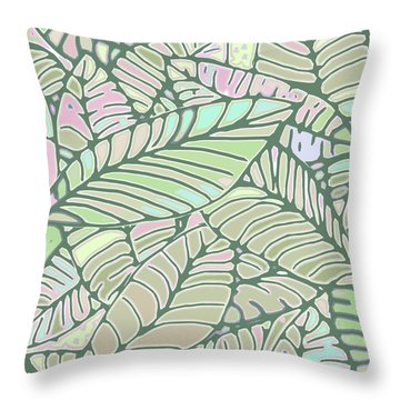 Abstract Leaves Green And Pink Throw Pillow
