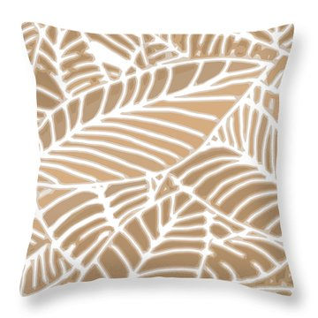 Abstract Leaves Iced Coffee Cutout Throw Pillow