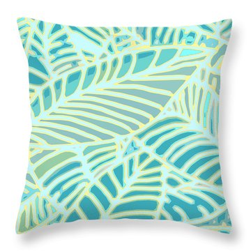 Abstract Leaves Teal And Aqua Throw Pillow