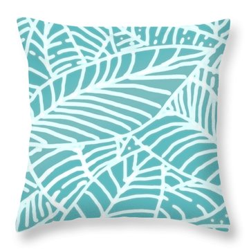 Abstract Leaves Teal Batik Throw Pillow