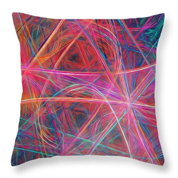 Throw Pillow featuring the digital art Abstract Light Show by Andee Design
