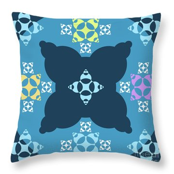 Abstract Mandala Blue, Dark Blue And Cyan Pattern For Home Decoration Throw Pillow