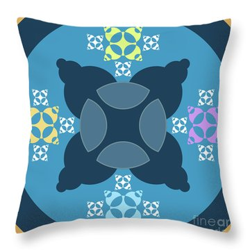 Abstract Mandala Blue, Orange And Cyan Pattern For Home Decoration Throw Pillow