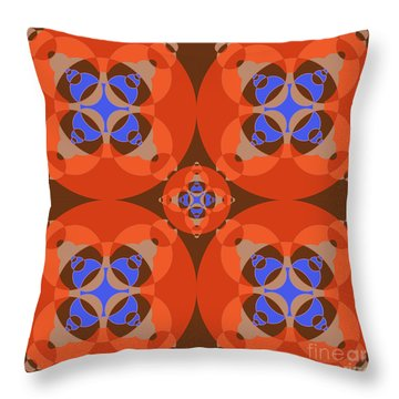 Abstract Mandala Orange, Brown, Blue And Cyan Pattern For Home Decoration Throw Pillow