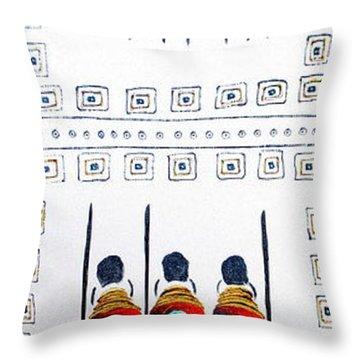 Abstract Masai Warriors Throw Pillow