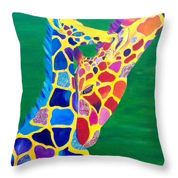Abstract Mehndi Giraffe Mom And Baby Throw Pillow