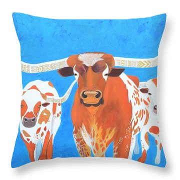 Abstract Mehndi Texas Longhorns Throw Pillow