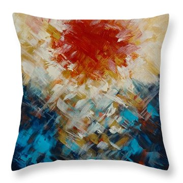 Abstract Blood Moon Throw Pillow