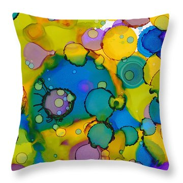 Throw Pillow featuring the painting Abstract Microscope Party by Nikki Marie Smith