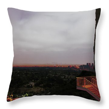 Abstract Mixed Media Getty View Los Angeles California  Throw Pillow